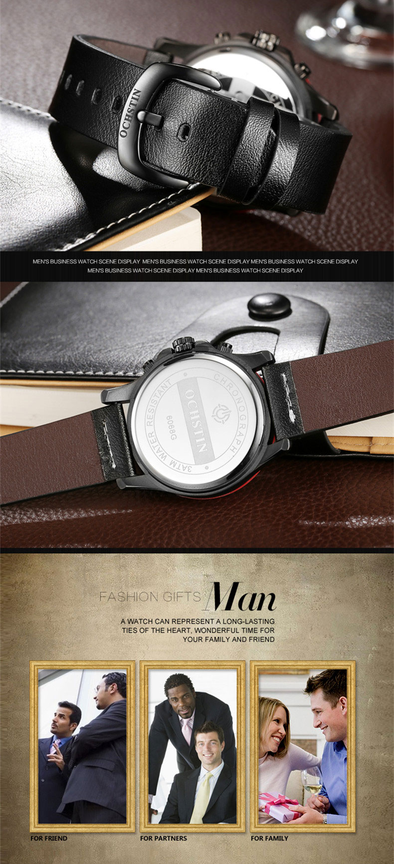 17 Men Watches Luxury Top Brand OCHSTIN Sports Chronograph Fashion Male Dress Leather Belt Clock Waterproof Quartz Wrist Watch 10
