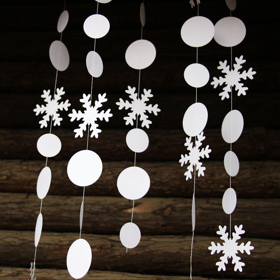 Brillante Guirnalda De Copo De Nieve Decoración De Navidad
