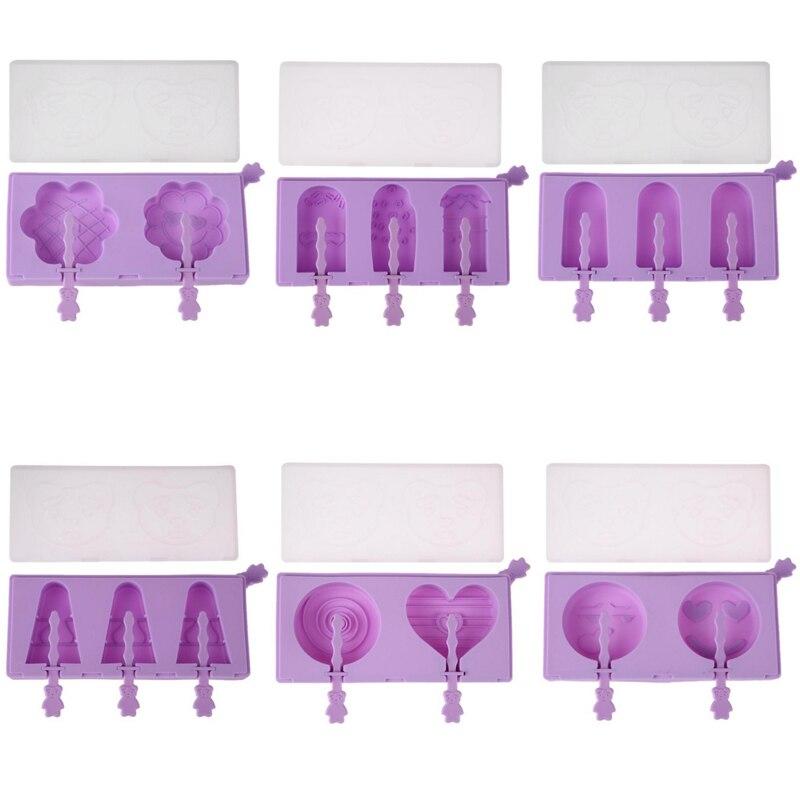 Silicone Glace Crème Moule Lapin Popsicle Moules Plateau de Glace Cube Outils Frozen Ice Lolly Maker Titulaire Cas