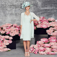 Mint Green Plus Size Short Mother of the Bride Lace Dresses With Jacket Knee Length Formal Women Chiffon Pant Suits Weddings