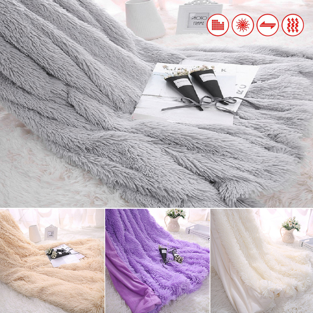 Super Soft Long Shaggy Bedspread Fuzzy Fur Plaid Faux Elegant Cozy With  Fluffy Sherpa Throw Sofa