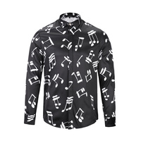 2017 Soft Casual Fashion 3D Print Shirts Long Sleeve Men Male Musical Note Pattern Fancy Dress