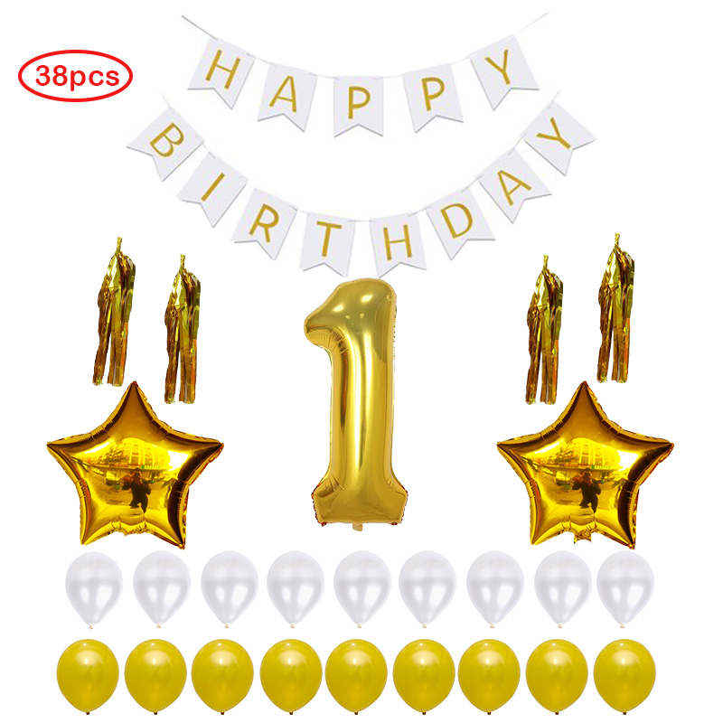 38pcs Happy Birthday Banner Sign Number 1 Mylar Balloon Gold Tassels, Gold White Latex Ballon Perfect 1 Year Old Party Supplies