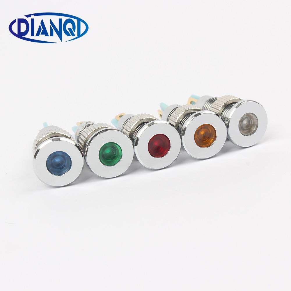 LED Metal Indicator light 8mm waterproof Signal lamp 6V 12V 24V 220v dot LIGHT red yellow blue green white 8ZSD.PY.C red light led instrument indicator lamp for electric diy red black 220v