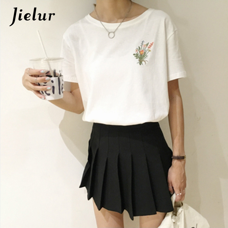 98169328821002 Detail Feedback Questions about Jielur Summer Korean Pop Flower Embroidered T  shirts Women Casual Loose Cotton Female T shirt Harajuku O neck Simple  White ...