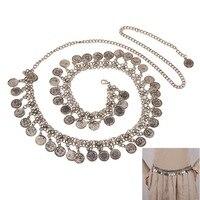 New Retro Metallic Coins Belly Dance Waist Belt Chain Tassel Jewelry Women Silver Color Hot Hot