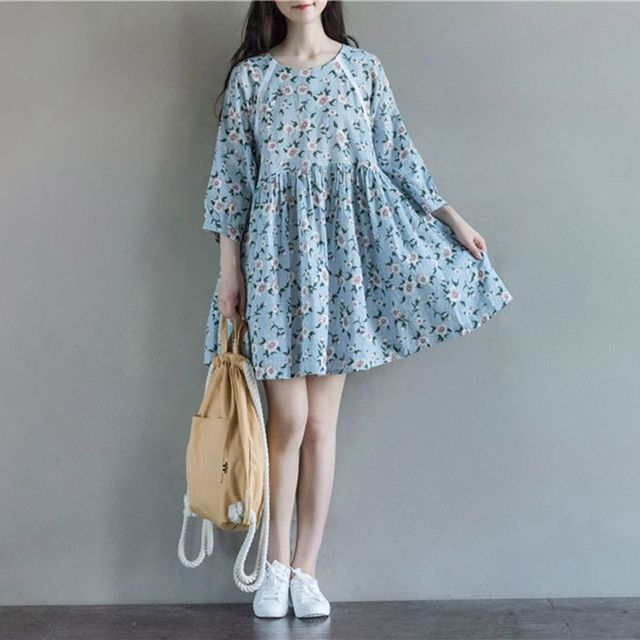 Одежда для беременных Новое Прибытие Платья для Беременных Мода Цветок Шить Хлопок Белье Лосс Повседневная Беременность Dress