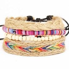 3/4pcs/1set Leather Bracelet Men Multilayer Punk Rudder Charm Wrap Bracelets for Women Vintage Bracelets & Bangles Men Jewelry