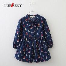 LUEISENY Korean Style Girls Dress Cute Bow Tie Long Sleeve Kids Dresses Summer 2019 Baby Girl Clothes