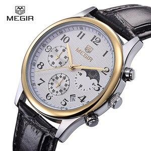 Image 5 - Megir fashion leather quartz watch man luxury waterproof chronograph sport wristwatch men relogios masculinos 5007 free shipping