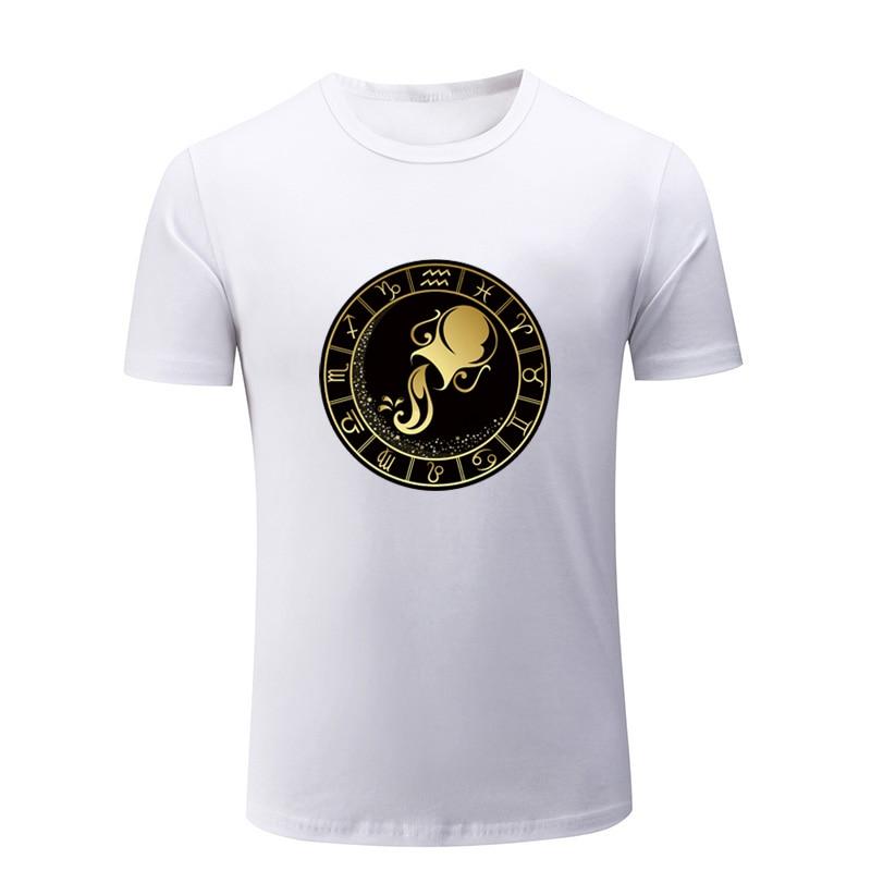 PISCES Gold Zodiac Sign T-Shirt Men/'s Black New Design//Rare Items