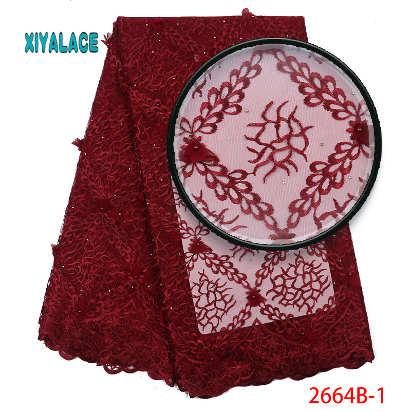 2019 New Style French Net Lace Fabric 3D Flower African Tulle Mesh Lace Fabric High Quality Lace Nigerian Lace Fabric YA2664B-1