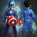 Capitán América Traje de Halloween para Niños Avengers Muscular Máscara Niños Ropa de Los Muchachos Monos Película Superhero Cosplay Ropa