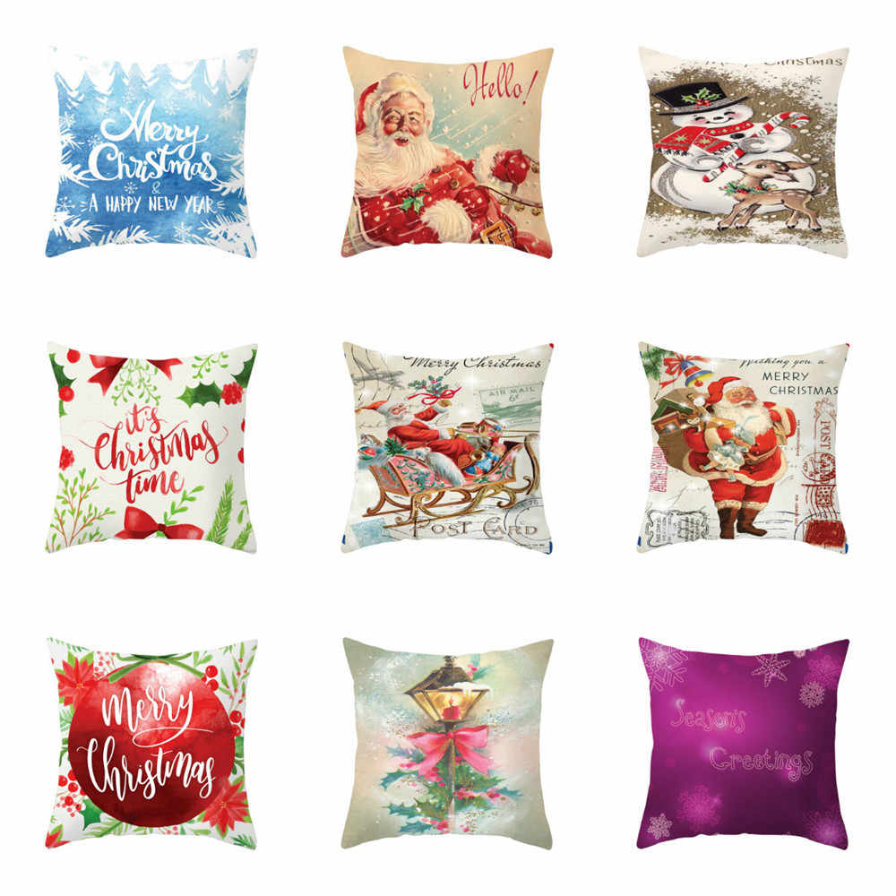 Pillowcases Merry Christmas Soft Peach skin Throw Pillow Cover Home Decor Cushion Cover Funda Cojin Housse de Coussin Cojines