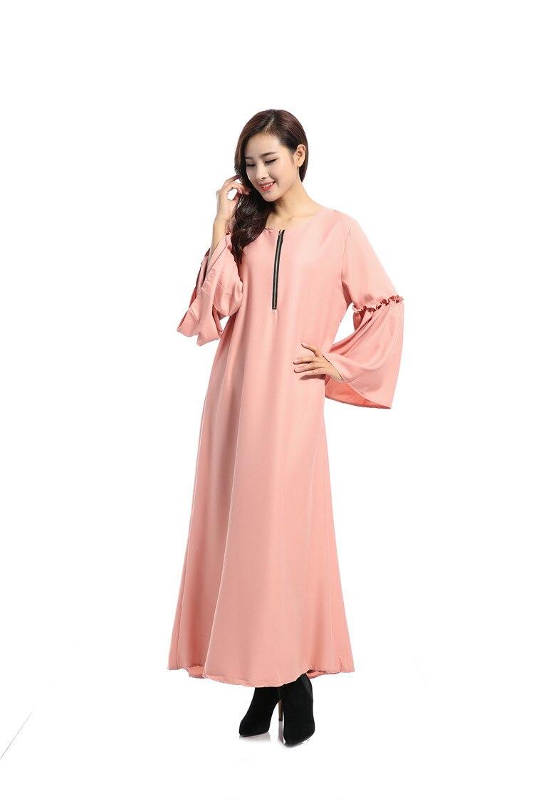 Les nouvelles caractéristiques de robe musulmane à manches longues des robes lâches arabes couleur Pure lumière du soleil chanvre dimanche vêtements - 4