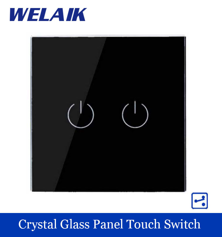WELAIK Crystal Glass Panel Switch black Wall Switch EU Touch Switch Screen Wall Light Switch 2gang2way AC110~250V A1922B smart home us au wall touch switch white crystal glass panel 1 gang 1 way power light wall touch switch used for led waterproof