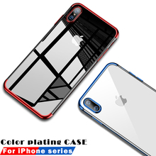 Luxury Plated TPU Case For iPhone 7 Transparent Ultra Thin Silicone Cover X 8 6 6S Plus Phone Accessories