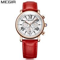 MEGIR Women Casual Quartz Watches Chronograph Waterproof Luxury Brand Leather Strap Fashion Ladies Dress Clock Wristwatches