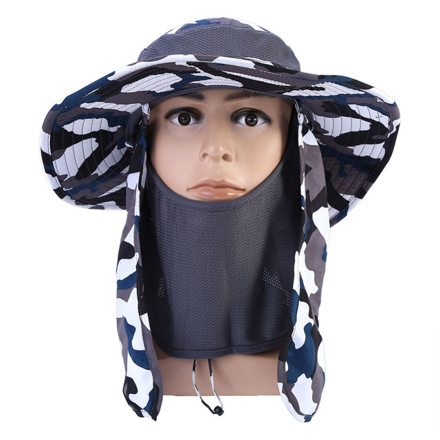 9bc5e151a50 Men Women Sun Face Protector Mosquitos Hat Big Round Wide Brim Neck Flap  Fishing Climbing