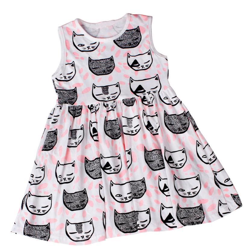 ̀ •́ 2016 Nuevo vestido del verano del estilo lindo gato patrón sin ...