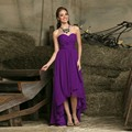 Purple Color High-low Bridesmaid Dresses A Line Chiffon Wedding Guest Dresses Sweetheart Party Formal Gowns Pleated Party Dresse