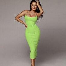 Colysmo 2019 Summer Maxi Dress Women Square Collar Chic Straps Sexy Party Neon Green Slim Fit Bodycon Long Vestidos