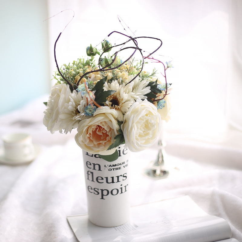 Rose Chou Lang Kytice Růže Umělé Plevel Květiny Živé Falešný List Svatební Oranžová Žlutá Domácí Ložnice Zahrada Dekorace