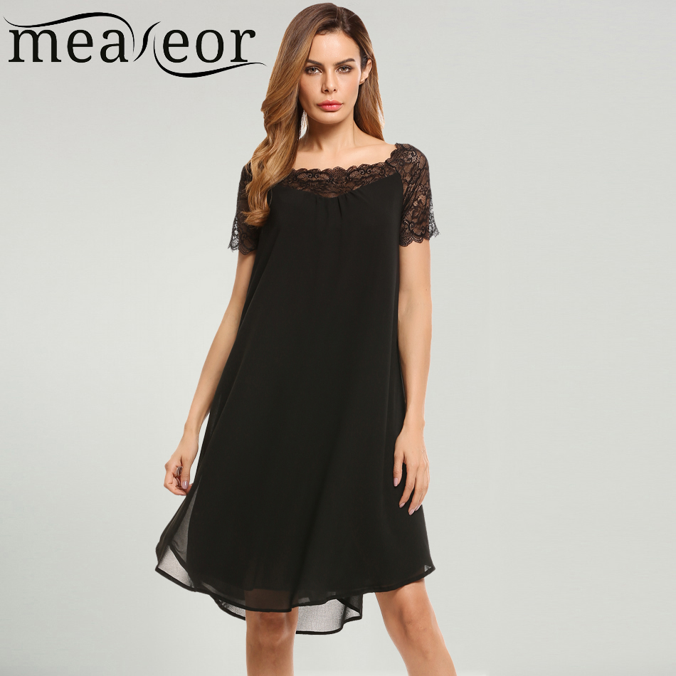 Meaneor Women Casual Short Sleeve Lace Patchwork Pullover Chiffon Dress 2018 Spring Summer New Ladies Femme Loose Party Dresses