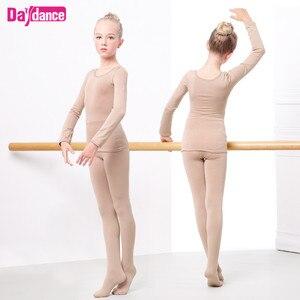 Image 2 - Kalınlaşmak kızlar bale iç çamaşırı takım elbise çıplak dans tayt Leotard bale streç dans giyim kış için