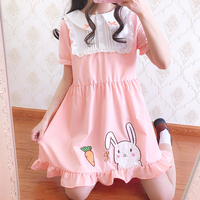 summer sweet lolita dress Cute Carrot Rabbit patch lace bowknot victorian dress kawaii girl gothic lolita op loli cos pink loli