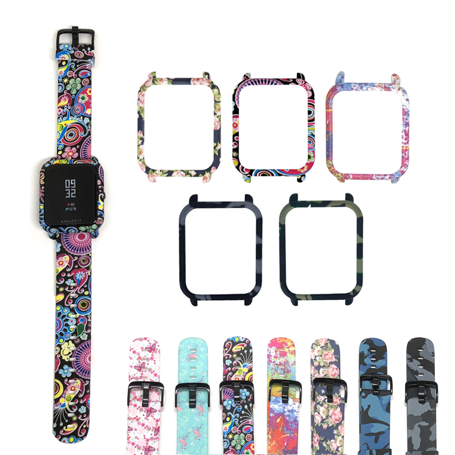 2 In 1 For Amazfit Bip Strap Watch Band+Protective PC Watch Case Cover Shell Frame Protector For Huami Amazfit Bip Accessories