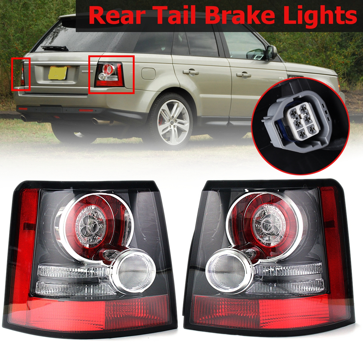 1 Pair Rear Tail Brake Lights Bumper Reflector Tail Brake Stop Light For Land Rover Range Rover Sport 2005 2006 2007-2013