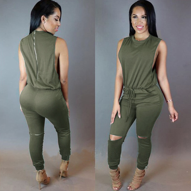 Women Hole Sleeveless Bandage Lace Up Jumpsuit Casual Rompers Overalls For Female Women O-neck Zipper Jumpsuits Women Summer(China)