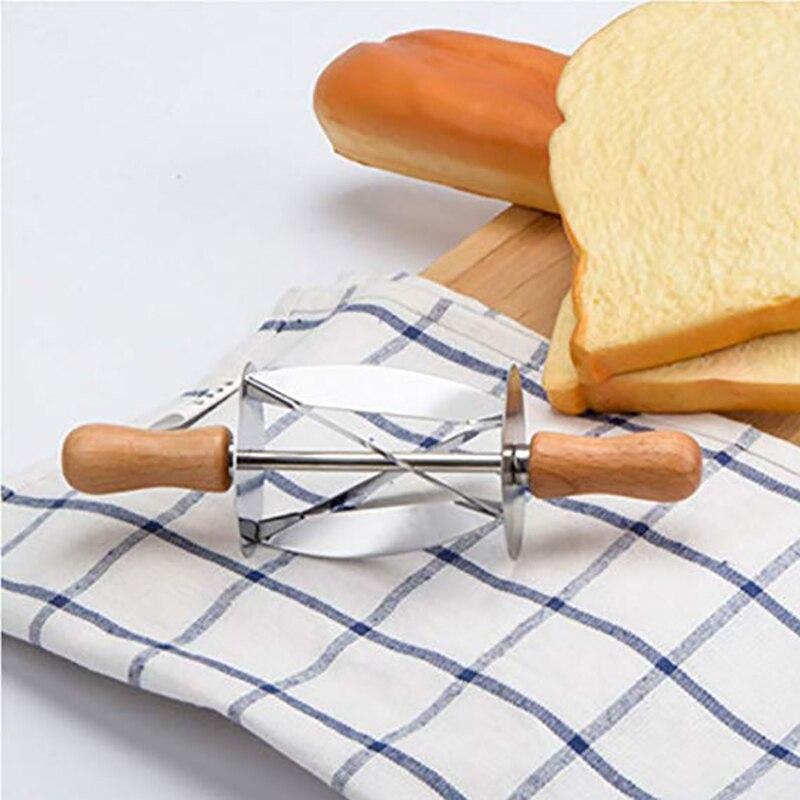 WALFOS Нержавеющая сталь прокатки резак для изготовления круассан хлеб колесо теста Кондитерская деревянная ручка ножа выпечки кухонный нож