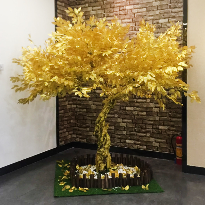 artificial tree artificial banyan tree golden wishing tree Mall window decorations for the New Year