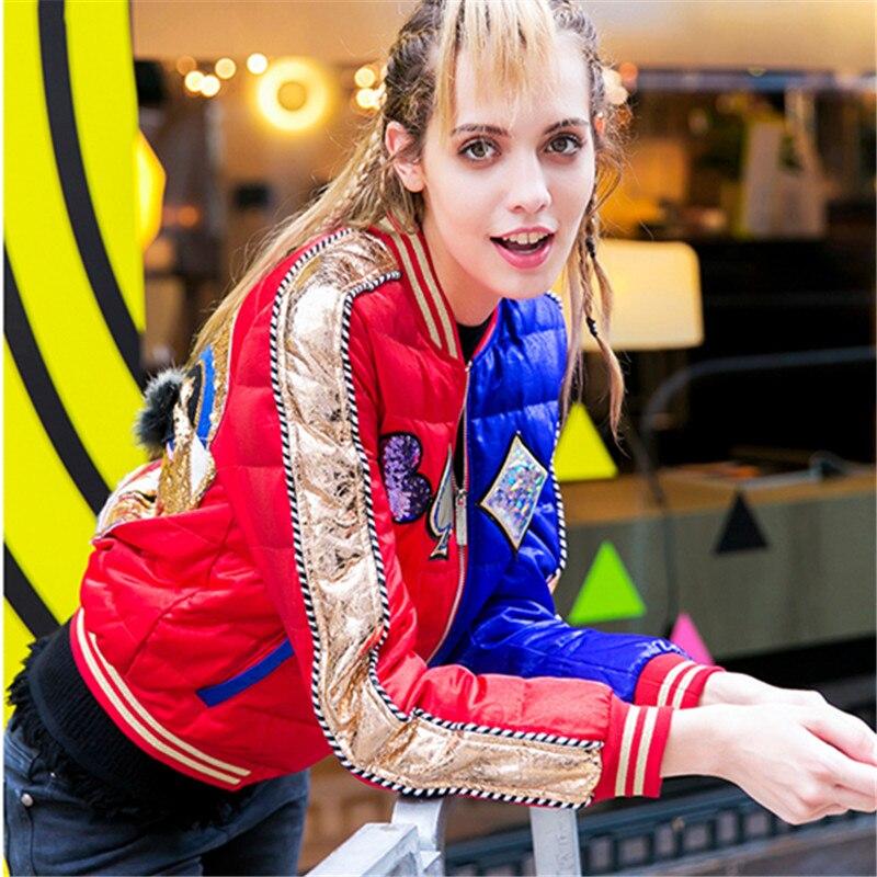 De Chaud Uniforme Doudoune Shouwn Streetwear Pour Survêtement Hiver Baseball Lumière Femmes As Taille Courte Sequin Décontracté Vêtements Grande Manteau Femelle tP7qB