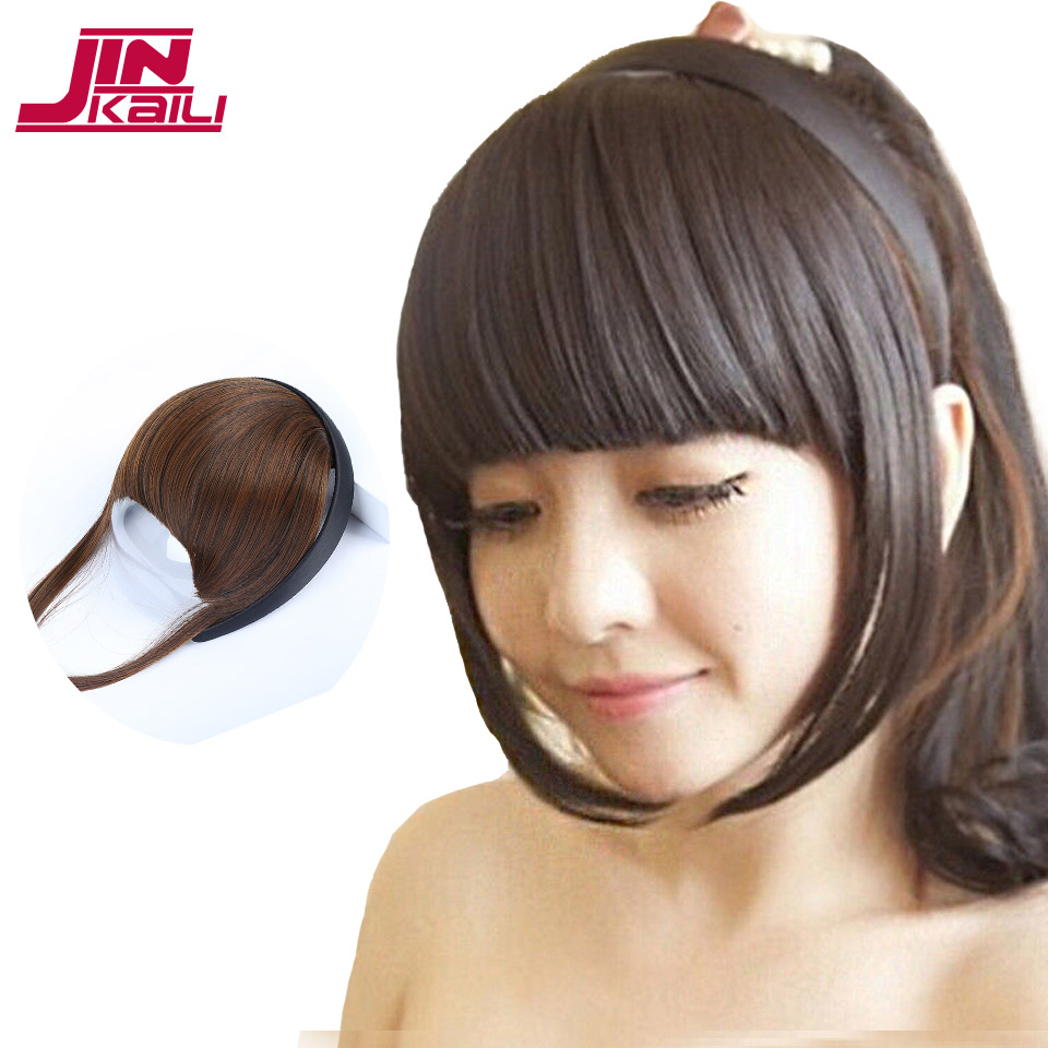 JINKAILI WIG Short Blunt Bangs Synthetic Fake Hair Pieces s