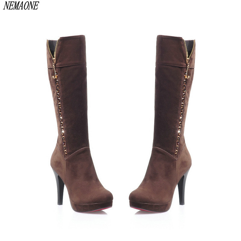 NEMAONE 2019 new arrive fashion women boots sexy high heels knee high boots flock beading women