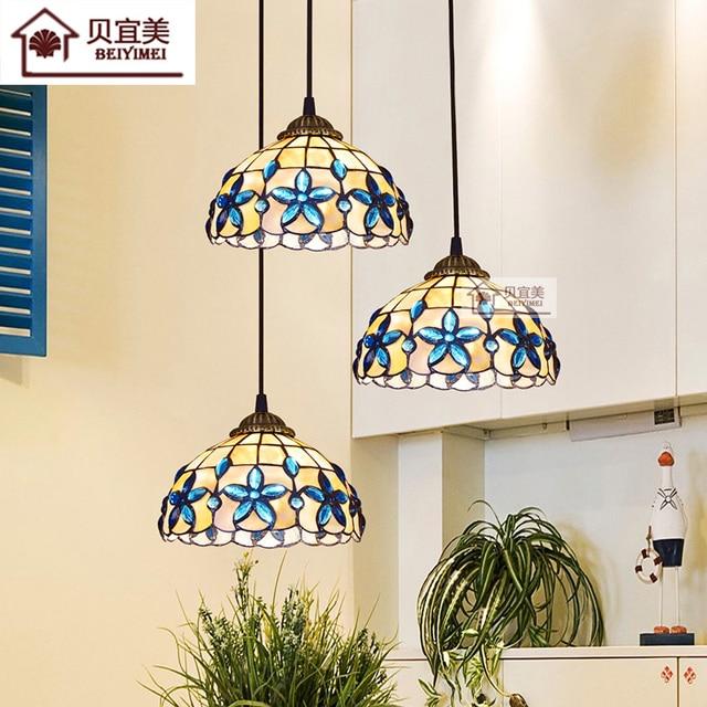 tiffany mediterranean style natural shell pendant lights lustres