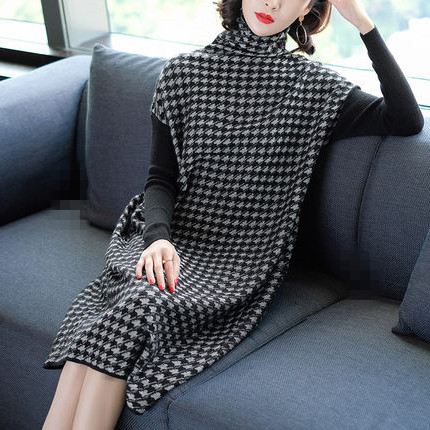 Plus Size Women Black Houndstooth Knitting Stretch Sweater Dress Winter Female Dresses Vestido Clothing Robes 4