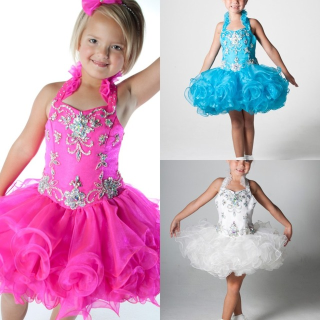 Halter Pink Pageant Dresses Cute Little Girl Party Dress Blue White ...