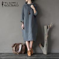Plus Size ZANZEA Women Autumn Turtleneck Long Sleeve Pockets Casual Mid Calf Sweatshirt Dress Ladies Loose