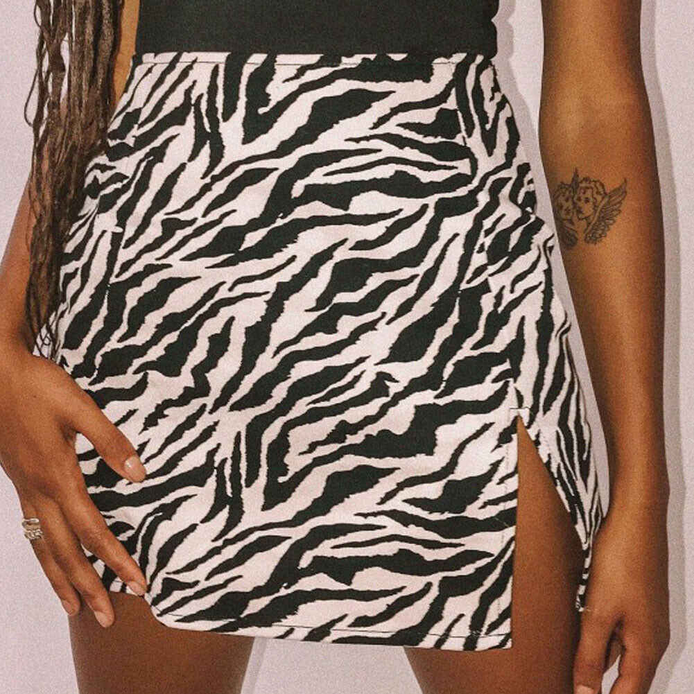 Women Mini Skirt High Waist Leopard Zebra Print Party Clubwear Casual Short Cocktail Clothing Elegant Straight Soft Skirts