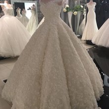 3D Flowers Luxury Sequins Ball Gown Wedding Dresses