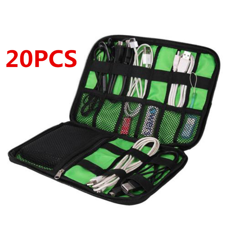 Mayitr 20PCS Waterproof Outdoor Tools Nylon Cable Holder Bag Electronic Accessories USB Drive Storage Case Organizer Bags ballistic nylon tools bag for tools storage 280x245x180mm