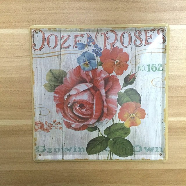 Rose garden flowers decoration Metal tin signs Painting Wall art ...