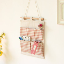 New Hot Selling Cotton Bag Cotton Storage Bags 5 Pocket Plaid Multi Wall Bag Hanging Bags Organizers