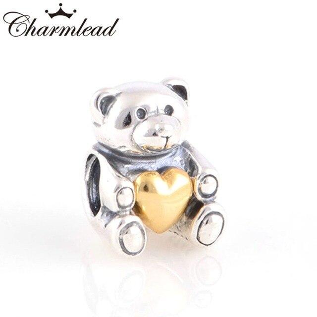 35030ae33 Fits Pandora Charms Bracelet 925 Sterling Silver Golden Heart Teddy Bear  Charm Beads DIY Fashion Lady Bracelet Charm Jewelry