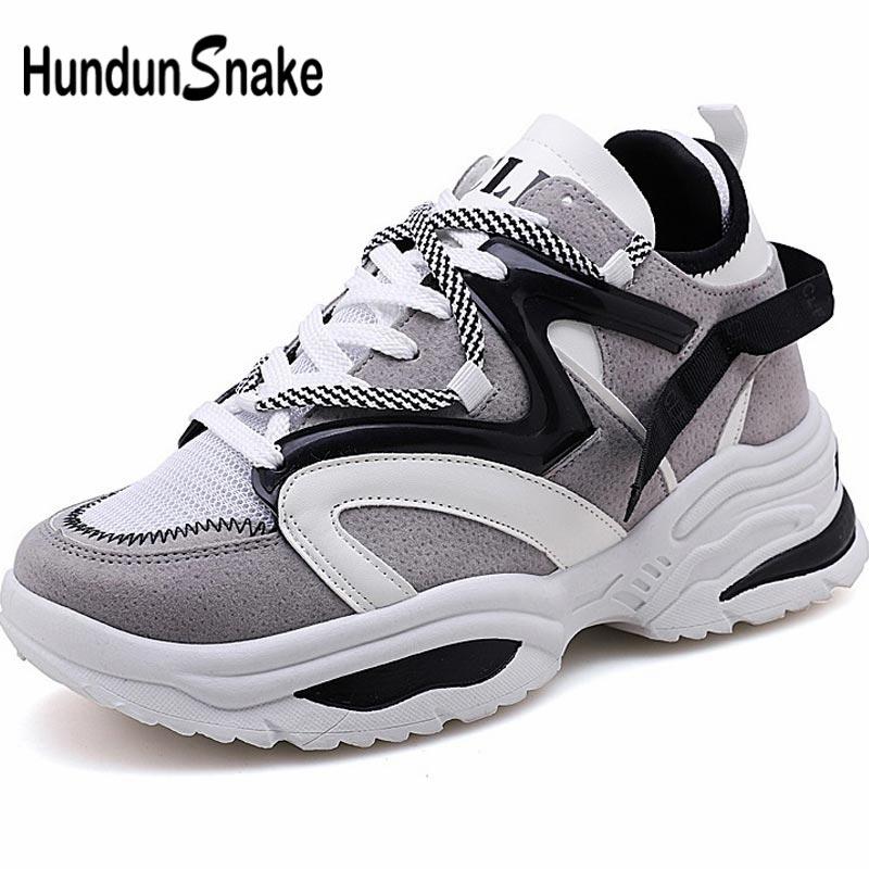 Hundunsnake Summer Women's Platform Sneakers Women's Running Shoes Men Sport Shoes Woman Dad Shoe Sports Gray Chunky Walk A-043