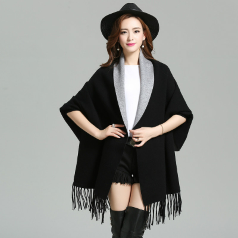 2017 Toamna New Maternity Femei Elegant Socialite Cashmere Tassel Cardigan Pulovere Batwing Sleeves Eșarfă Cape Outwear S-4XL